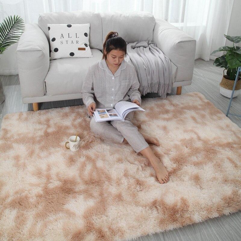 Tapis dégradé de teinture marbré salon Table basse tapis de sol épais dégradé couverture de peau douce cryptage tapis épais - 4