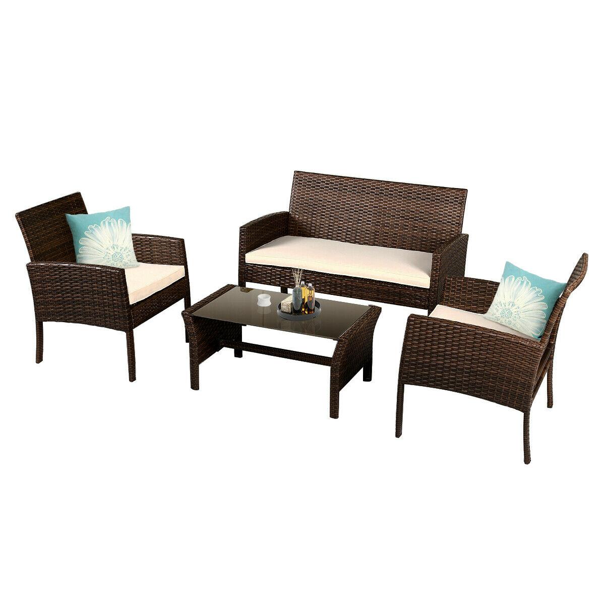 Patio Furniture Wicker Rattan Sofa Set