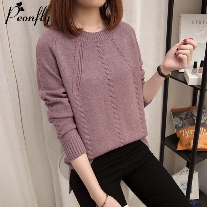 PEONFLY New 2019 Autumn Winter Pullovers Sweater Women O Neck Long Sleeve Knitted Sweater Female Army Green Purple Jumper