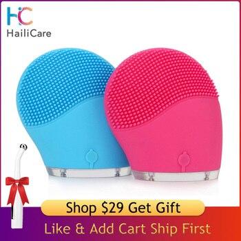 HailiCare électrique visage nettoyant vibrer pores propre Silicone brosse nettoyante masseur Vibration du visage soins de la peau Spa Massage