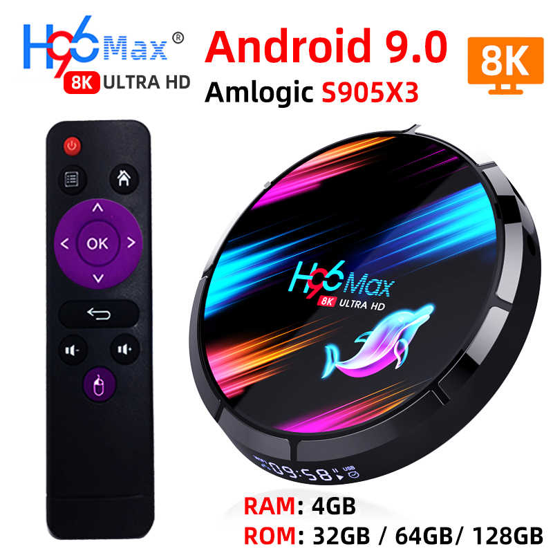 H96 MAX X3 Smart TV Box Android 9.0 avec RAM 4G ROM 32G 64G 128G Amlogic S905X3 2.4G WIFI BT4.0 Google Media Play Andorid TV Box
