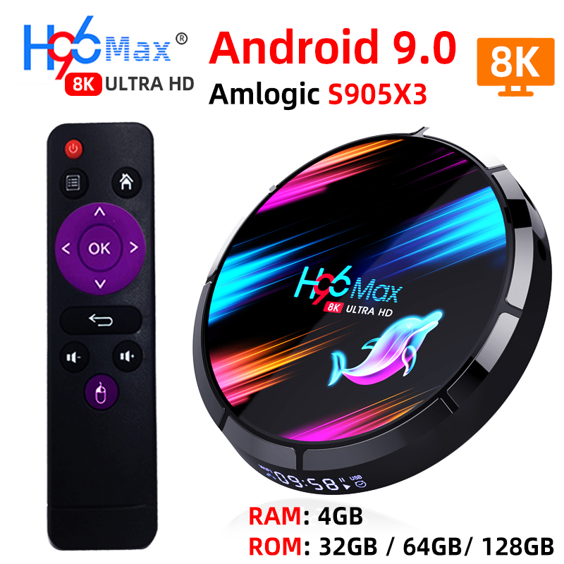 H96 MAX X3 Smart TV Box Android 9.0 With RAM 4G ROM 32G 64G 128G Amlogic S905X3 2.4G WIFI BT4.0 Google Media Play Andorid TV Box