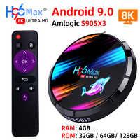 H96 MAX X3 smart tv box Android 9.0 z RAM 4G ROM 32G 64G 128G Amlogic S905X3 2.4G WIFI BT4.0 Google Media Play Android tv, pudełko