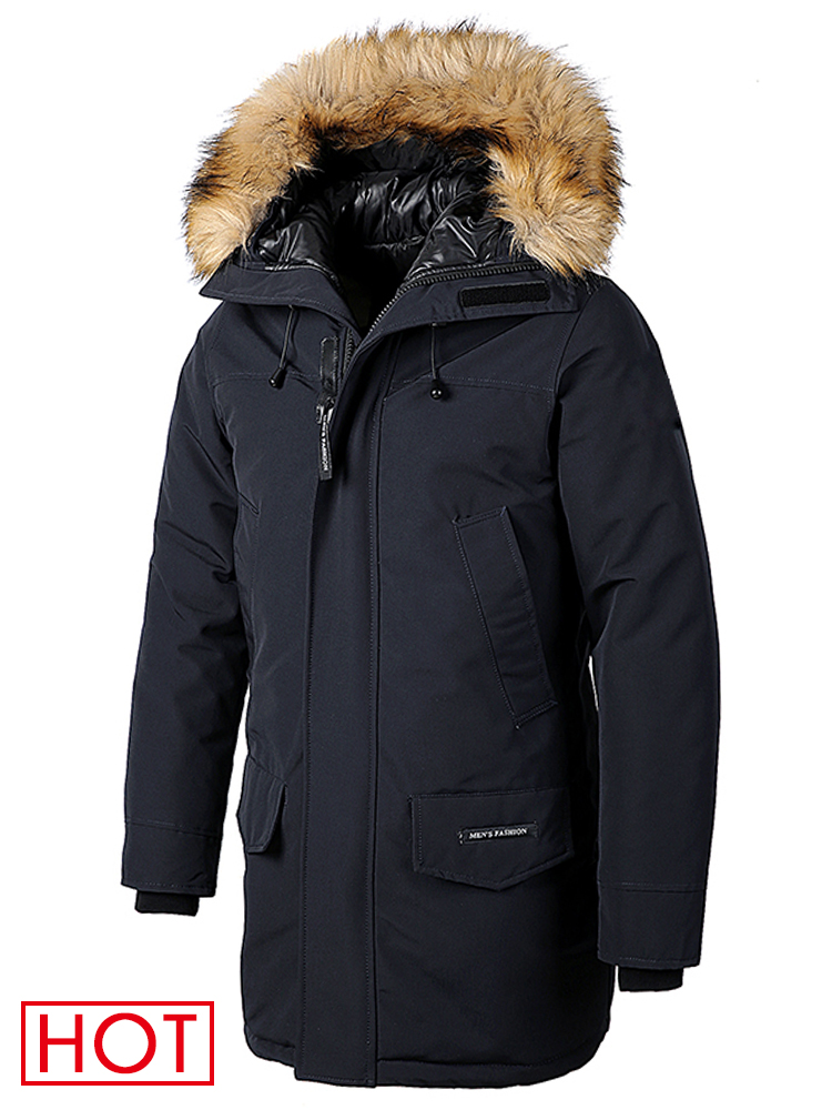 Parkas Jacket Hooded-Pockets Coat Men Long-Fur-Collar Classic Casual Winter Outwear Thick