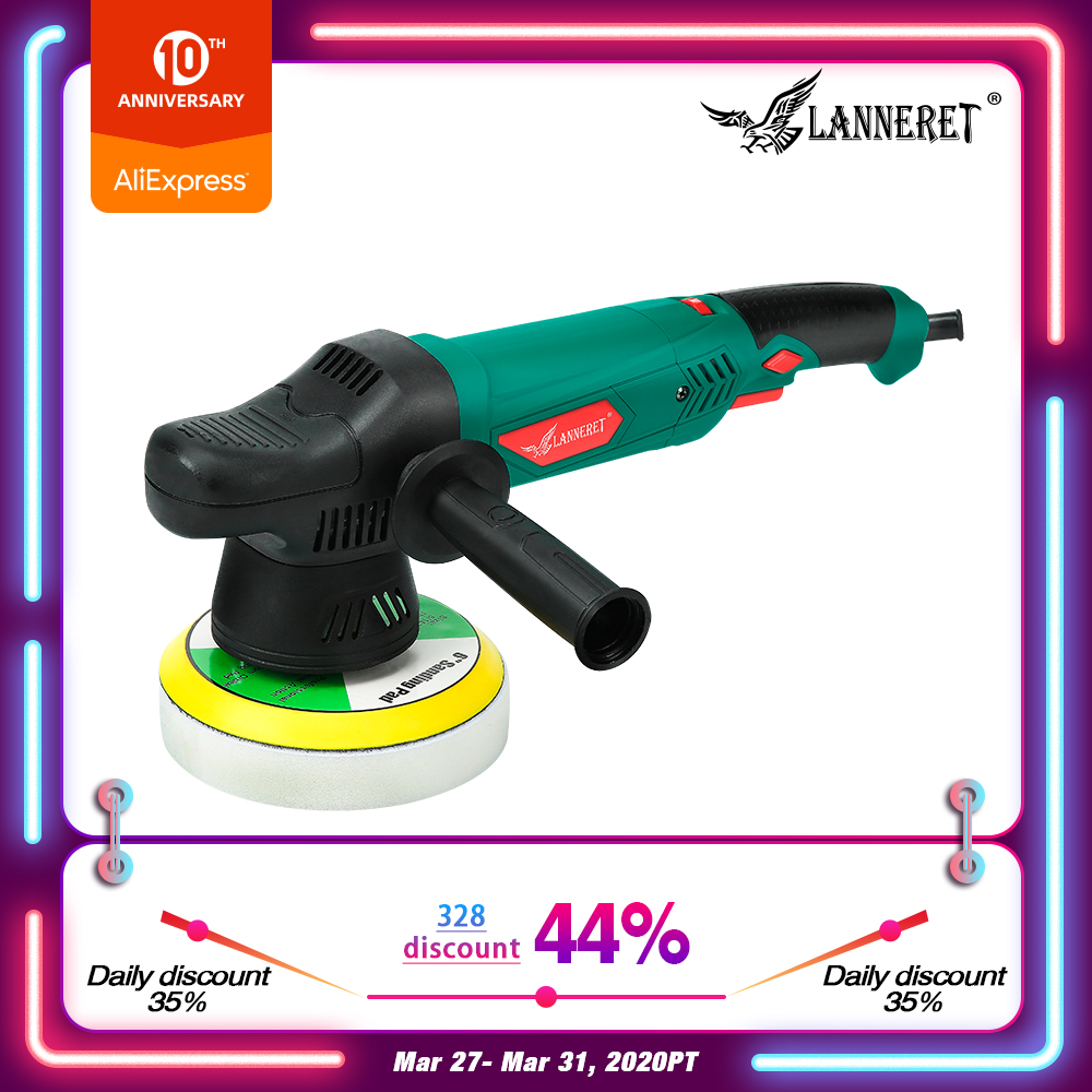 LANNERET 6'' Dual Action Polisher 150mm 900W Variable Speed Electric Polisher Shock And Polishing Machine Cleaner Polishing Pad