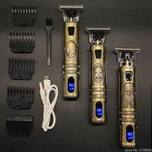 Máquina de cortar cabelo elétrica recarregável barbeador aparador de barba profissional máquina de corte de cabelo barba barbeiro corte de cabelo