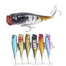 1Pc Popper Fishing Lures 6 Colors Hard Bait 9cm 14.7g 6# Fishhooks Bionic Tackle Crankbait Wobblers
