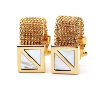 10Pairs/lot Gold Mesh Strip Chain Cufflinks With White Pearl Shell Inlaid Cuff Links Men's Jewelry Business Style Wholesale