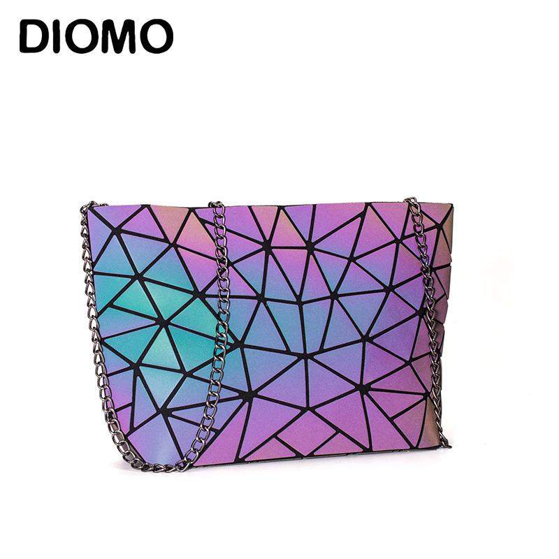 DIOMO Messenger Bag Women's Chain Bag 2020 Fashion Luminous Geometric Sling Bag Sac Femme Shoulder Strap Female Bolsas Feminina