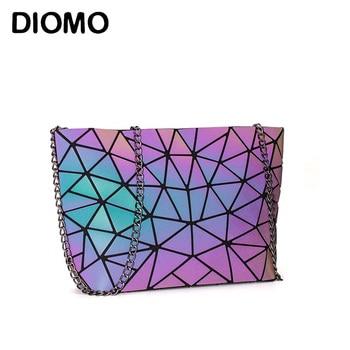 Сумка-мессенджер DIOMO Женская, с цепочкой, светящаяся, Геометрическая, на ремне, 2020