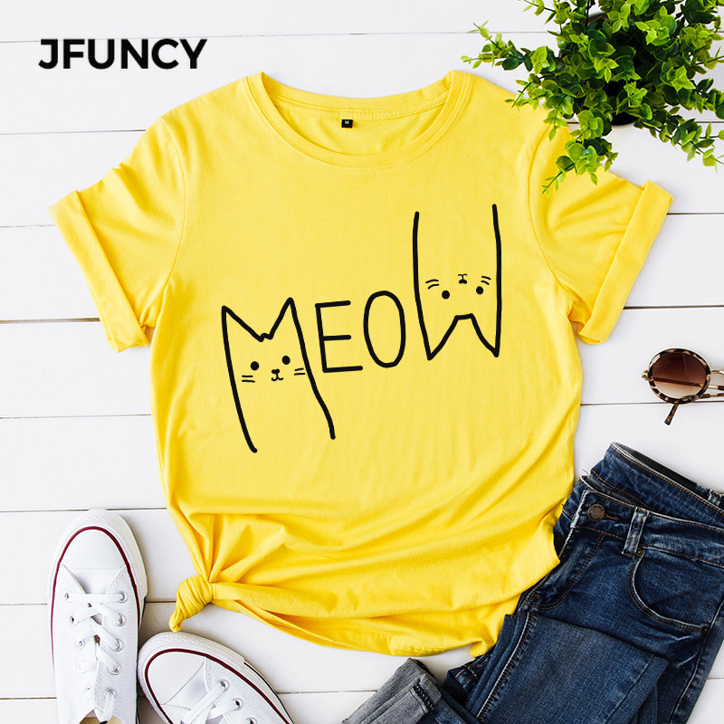 Jfuncy camiseta feminina 100% algodão casual manga curta tshirt bonito miow gato impressão mulher camiseta 4 cores S-5XL feminino topos