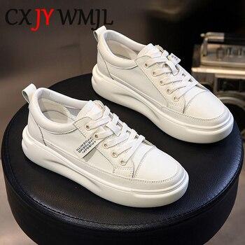 Zapatos casuales de cuero genuino zapatos de las mujeres zapatillas de deporte otoño blanco luz zapatillas plataforma Med talón damas zapato cómodo zapato vulcanizado