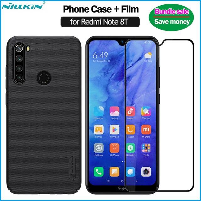 Nillkin Frosted Case + Volledige Overdekte Gehard Glas Voor Xiaomi Redmi Note 8T Case Met Screen Protector Volledige Dekking film 8T