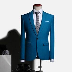 Image 5 - PYJTRL hommes grande taille mariage garçons dhonneur bleu marron vert costume veste affaires décontracté coupe étroite Blazer Masculino Blusa Masculina