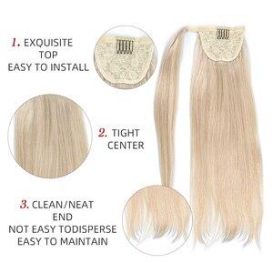 Человеческие волосы Remy для конского хвоста, прямые европейские прически для конского хвоста, 80 г, 100% натуральные волосы для наращивания на з...