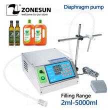 ZONESUN мембранный насос, маленькая бутылка, наполнитель воды, полуавтоматическая машина для наполнения чернилами, соком, напитком, маслом, флаконом, жидкостью