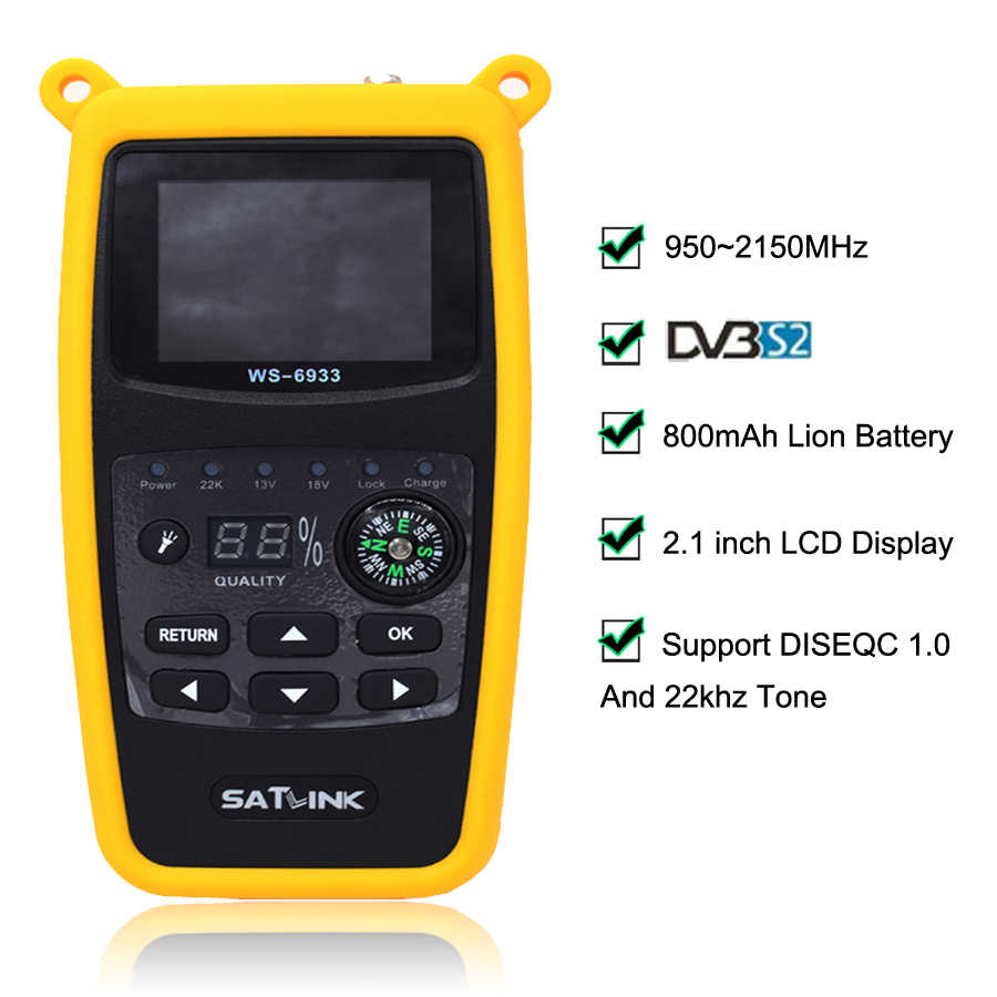 Meiyiu SATLINK WS-6933 DVB-S2 Satellite Finder FTA CKU Band Satlink Digital Satellite Finder Meter UK Plug