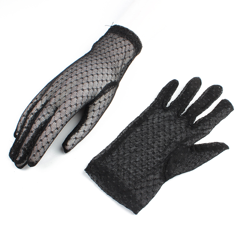 Women Sexy Gloves Female Summer Sunscreen Lace Gloves Ladies Solid Black Elastic Guantes Outdoor Riding Breathable Short Gloves