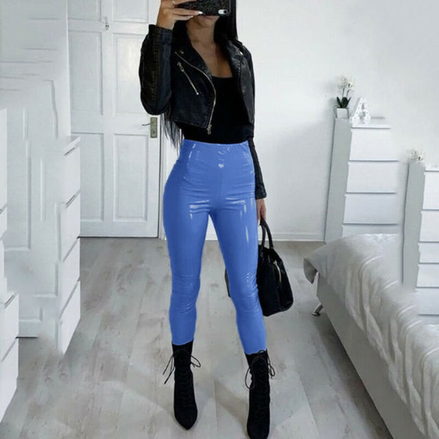 Hot Sexy Women Gothic Leggings Wet Look PU Leather Leggings Black Slim Thin Long Pants Ladies Skinny Leggings Stretchy Plus Size 3