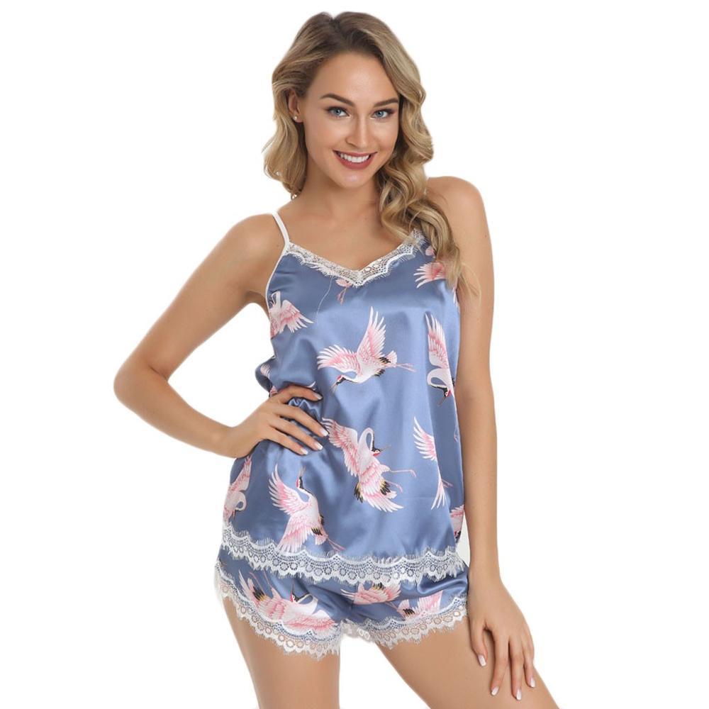 New Women V-Neck Satin Lace Sexy Stain Trim Camisole Pajamas Sleepwear Shorts Set Large Size Crane Print Satin Pajamas Set