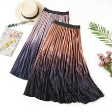 AcFirst Autumn Khaki Purple Women Skirts High Waist Pleated Mid-Calf Skirt Clothing Vintage A-Line Long Gradient Ramp