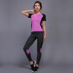 Image 4 - OLOEYER סקסי יוגה סט ספורט ללבוש לנשים כושר TShirt + מכנסיים לנשימה חדר כושר בגדי אימון דחוס יוגה חותלות ספורט חליפה