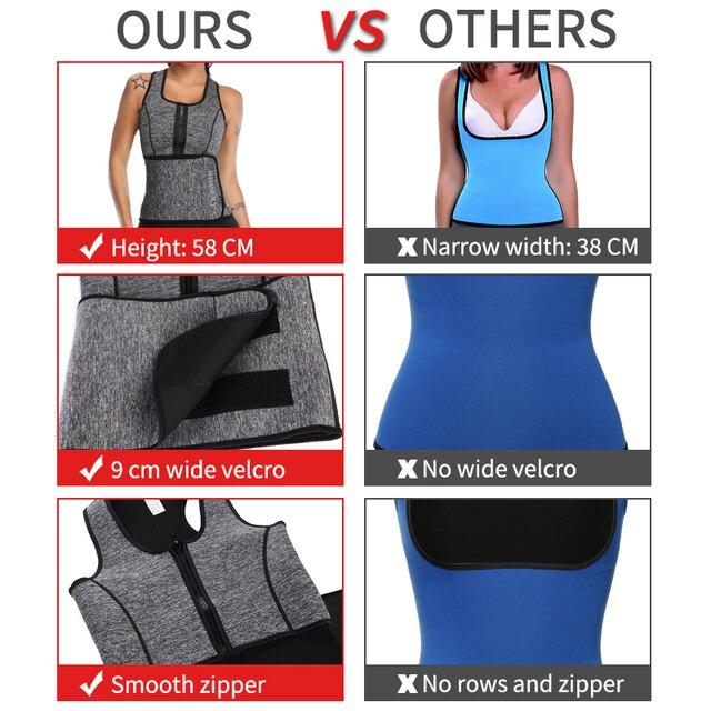 Women Neoprene Waist Trainer Sweat Sauna Suit Waist Cincher Slimming Vest Adjustable Waist Trimmer Belt Tank Top Shapewear 3