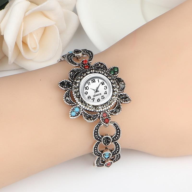 New Fashion Gray Rhinestone Watches Women Luxury Brand Stainless Steel Bracelet Watches Ladies Quartz Dress Watch Reloj Mujer