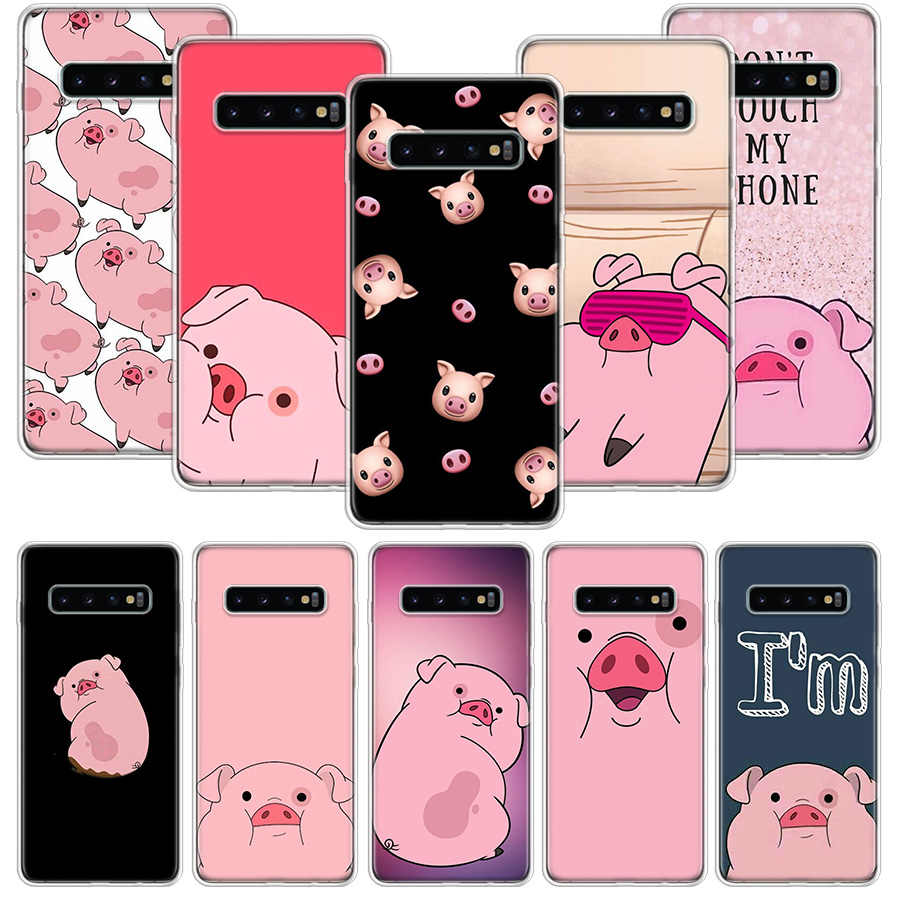 Cute Pink Kawai Babi Case untuk Samsung Galaxy Note 10 9 8 S10 + Lite S9 S8 J4 J6 J8 plus 2018 S7 S6 Tepi Soft Phone Coque