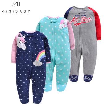 Moda unicornio ubranka dla niemowląt miękkie polary dziecięce jednoczęściowe romper pijama noworodki niemowlęce chłopięce ubranka dla dzieci tanie i dobre opinie OrangeMom Octan Poliester Cartoon Dziecko dziewczyny Pełna Pasuje prawda na wymiar weź swój normalny rozmiar O-neck