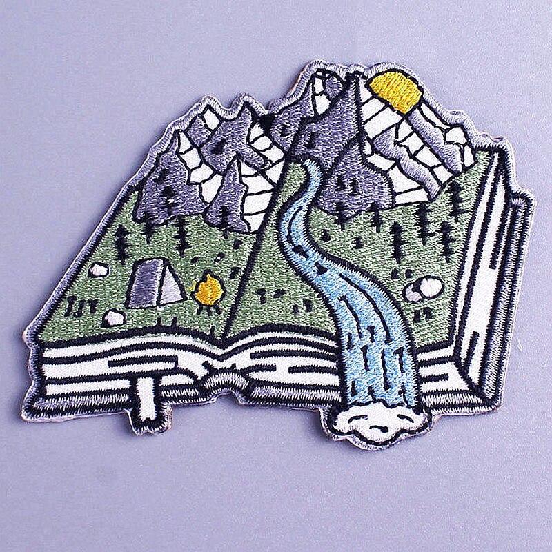 Outdoor Natürliche Berg Patches DIY Bücher Bestickt Patches für Kleidung Patch Applique Eisen auf Patches für Jacke Kleidung