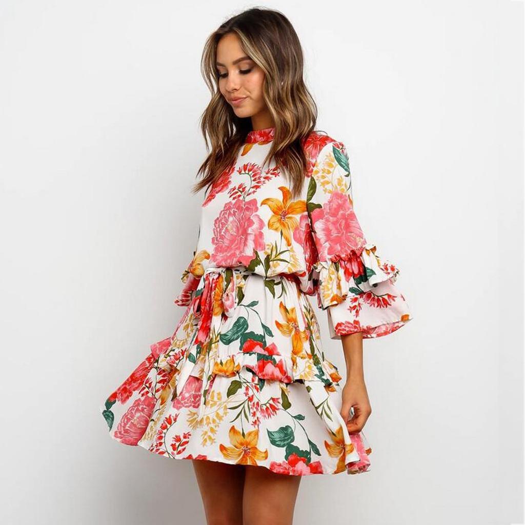KANCOOLD женское платье, круглый вырез, рукав-колокол, цветочный принт, шнуровка, оборки, подол, летнее платье, Модное Новое платье momen 2020jan20