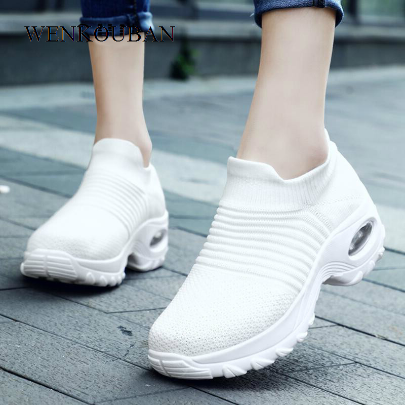 Womens Flats Slip On Shoes For Women Sock Sneakers Platform Black Ballet Shoes Ladies Casual Dance Shoes Mocasines Mujer 2020
