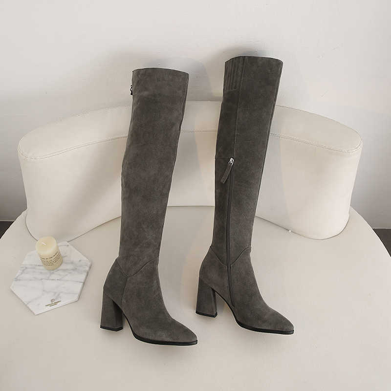 19 skóra nubukowa zakolanówki buty damskie pasek z klamrą stylowe markowe kozaki damskie ręcznie robione na obcasie zimowe zamszowe buty damskie
