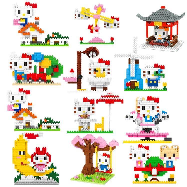 Mini Diamond Building Blocks Hello Kitty DIY Building Toys Cute Melody Model Toys Assembling Bricks For Girl Surprise Gift Toys