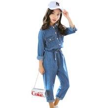 Abesay Denim Vestuário infantil Camisa de Manga Comprida + Calças 2 Pcs Roupas Casuais Meninas Conjunto Inverno Adolescente Roupas Meninas 6 8 12 ano