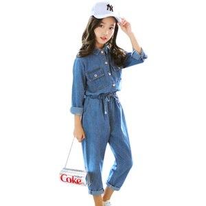 Image 1 - Abesay Denim odzież dziecięca koszula z długim rękawem + spodnie 2 szt. Casual Girls Clothes Set odzież zimowa nastoletnie dziewczyny 6 8 12 rok