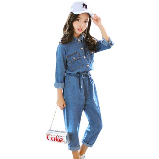 Abesay Denim odzież dziecięca koszula z długim rękawem + spodnie 2 szt. Casual Girls Clothes Set odzież zimowa nastoletnie dziewczyny 6 8 12 rok