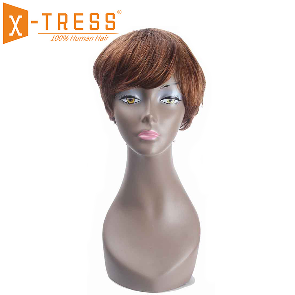 Short Bob Human Hair Wigs With Bang Side Part X-TRESS Ombre Brown Blonde Color Brazilian Non-Remy Straight Hair Wig For Women