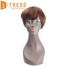 קצר בוב שיער טבעי פאות עם מפץ צד חלק X TRESS Ombre חום בלונד צבע ברזילאי שאינו רמי ישר שיער פאה עבור נשים