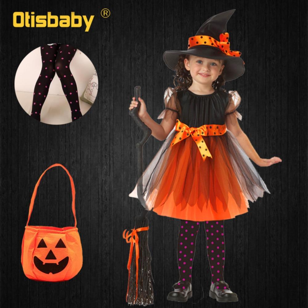 4Pcs Mädchen Hexe Kleid Candy Tasche Leggings Hut Kleidung Set Halloween Hexe Kostüm Kinder Karneval Mädchen Hexe Cosplay Kostüm