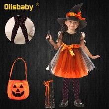 Vestido de bruja para niñas, conjunto de ropa con mallas y sombrero, disfraz de bruja para Halloween, Carnaval, Cosplay, 4 Uds.