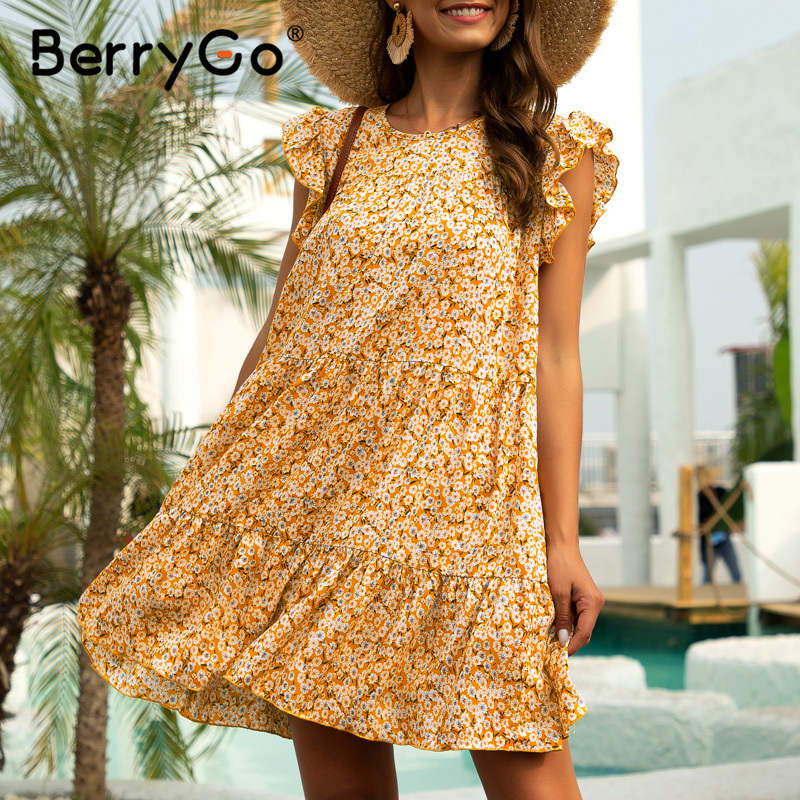 BerryGo Floral Print Short Summer Dresses Women Sleeveless Ruffle Boho Dress Female Chic Retro Mini Holiday Beach Dress Causal