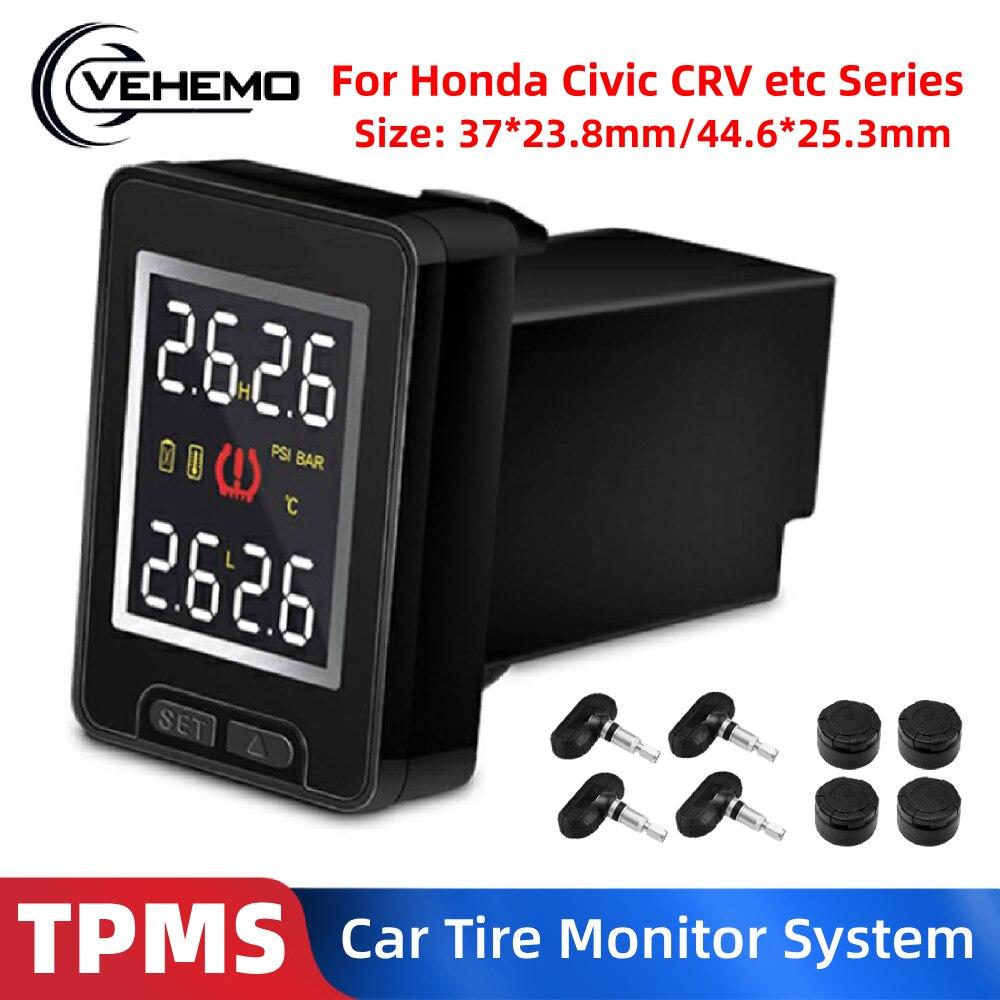Dla Honda Civic CRV Crosstour U912 samochodowy bezprzewodowy system monitorowania ciśnienia w oponach TPMS z 4 czujnikowym wyświetlaczem LCD wbudowany Monitor