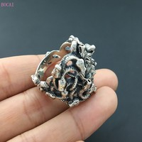 S925 pure silver ornaments hand Thai silver restoring ancient ways personality medusa ring ring male money new style ring