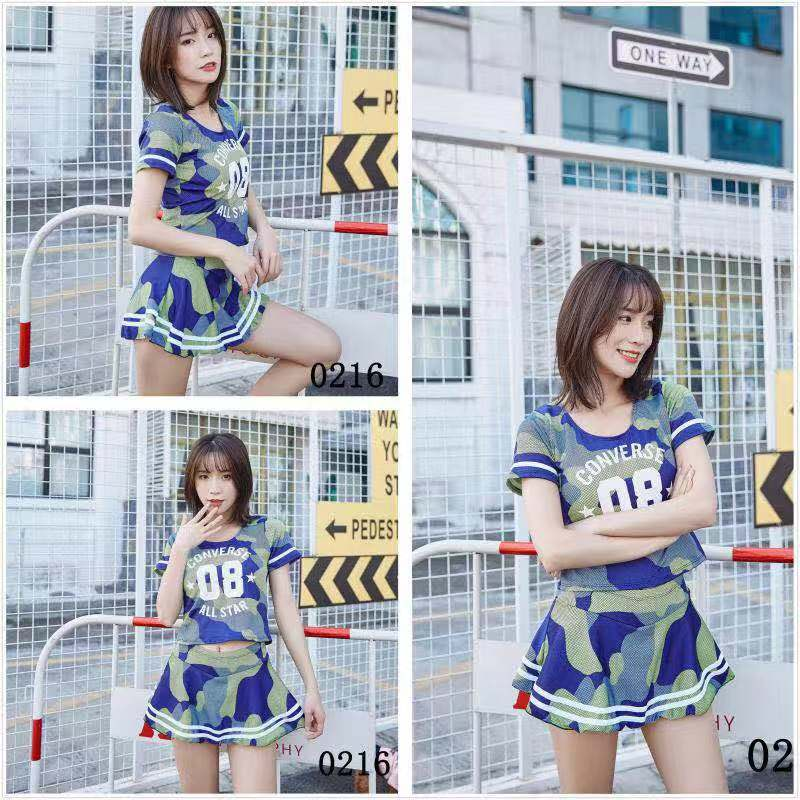 Korean-style Split Type Boxer Bathing Suit Camouflage Cover Belly Conservative Hot Springs Tour Bathing Suit 0216 No