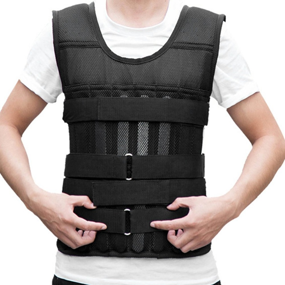 15kg 20kg 50kgLoading Weighted Vest For Boxing Training Equipment Adjustable Exercise Black Jacket Swat Sanda Sparring Protect