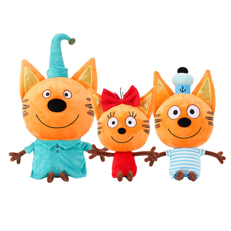 New 27-33cm Russian Three Happy Cats Plush Toys Kid-e-Cats Cookie Candy Pudding Plush Doll For Children Kids Birthday Gifts