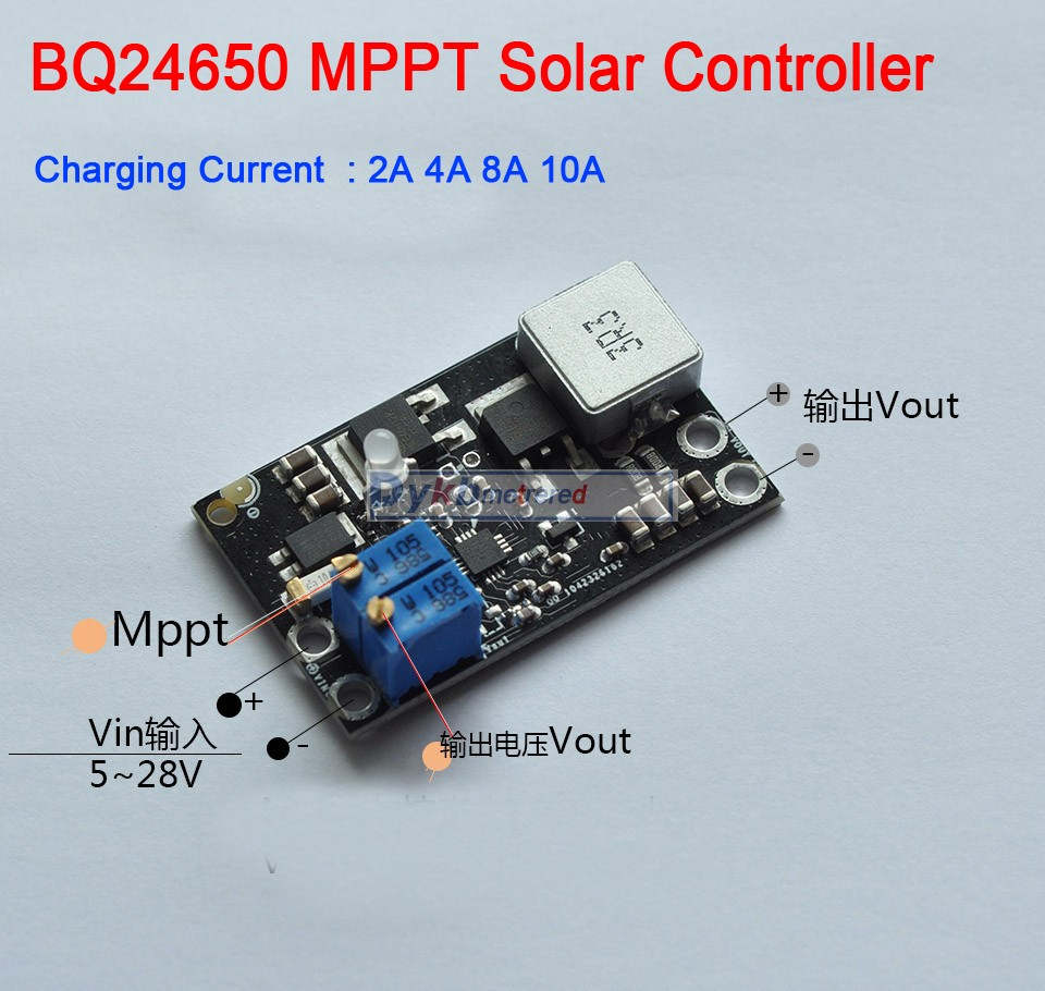 DYKB BQ24650 10A MPPT Solar Panel Controller Lithium Battery Li-Ion LiFePO4 Lead Acid Charging 12V 24V Buck Module Adjustable