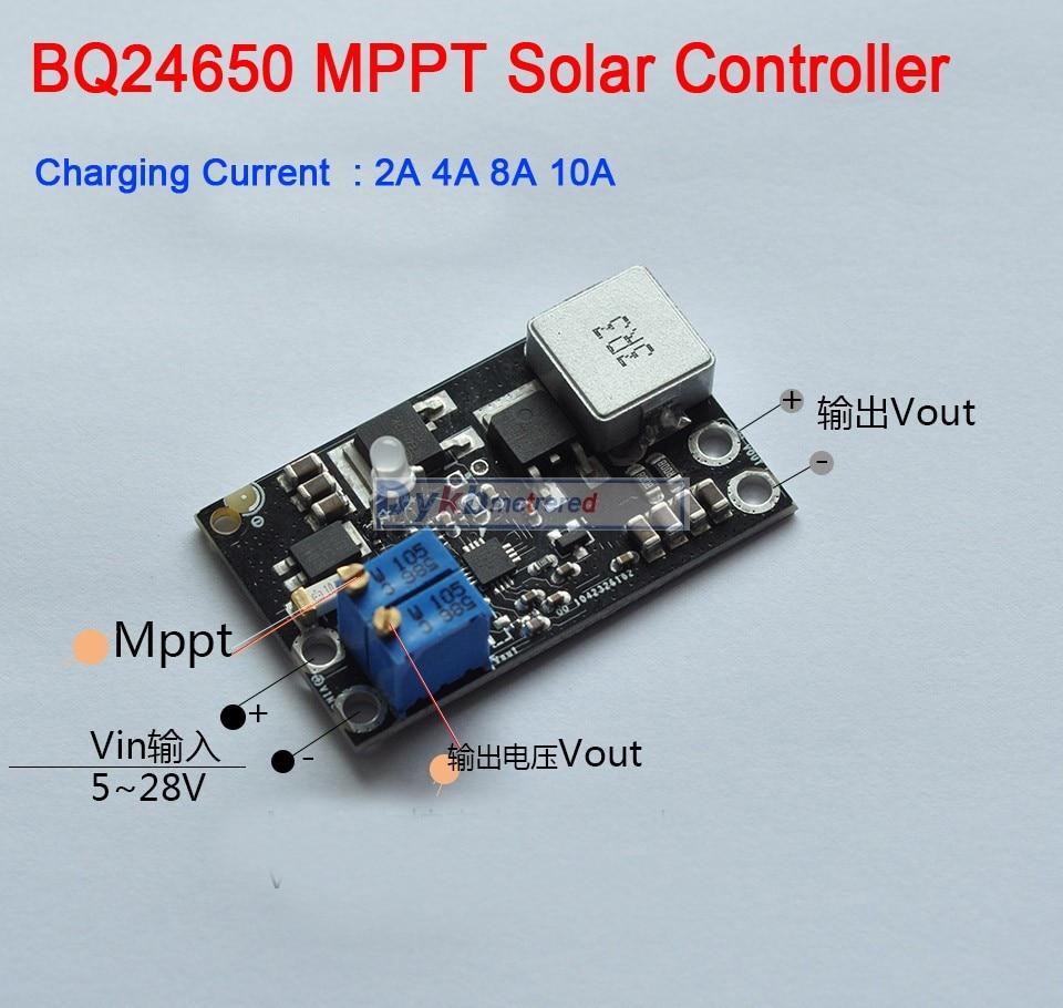 DYKB BQ24650 10A MPPT Solar Panel Controller Lithium Battery Li-Ion LiFePO4 Lead Acid Charging 12V 24V Buck Module Adjustable